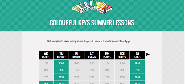 Piano lesson calendar